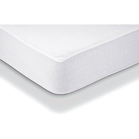 AmazonBasics - Protector de colchón de felpa impermeable 135 x 190 cm