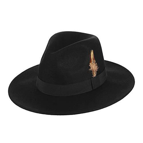 Woolen Zylinder-männlicher britischer Jazz-Hut-weiblicher Feder-Gentleman-Fedora-Hut Herbst und Winter  schwarz Kopfumfang: 58cm Krempe: 7cm Tiefe: 11cm
