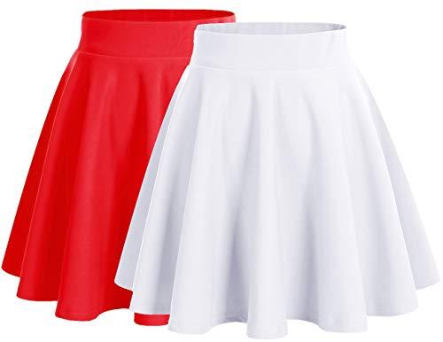 Dresstells Damen Basic Solide Vielseitige Dehnbar Informell Mini Glocken Rock 2-Pakete(White+red XL -