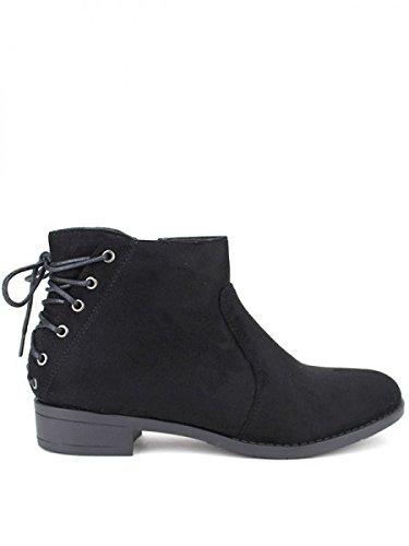Cendriyon, Bottine Daim noire CHEANA Chaussures Femme Noir