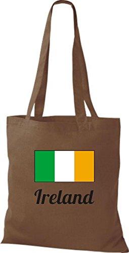 ShirtInStyle Stoffbeutel Baumwolltasche Länderjute Ireland Irland Farbe Pink mittelbraun