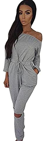 ALAIX Women's off-Shoulder Bodycon Knee Hole Pants Party Club Jumpsuits Rompers-Grey-XL