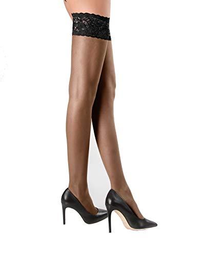 WOOTI Media autoreggente efecto seda POMODORO 20 den, color Negro, talla S, Cómodo, Elegante, Atractivo, Sexy, Velado, Refinado