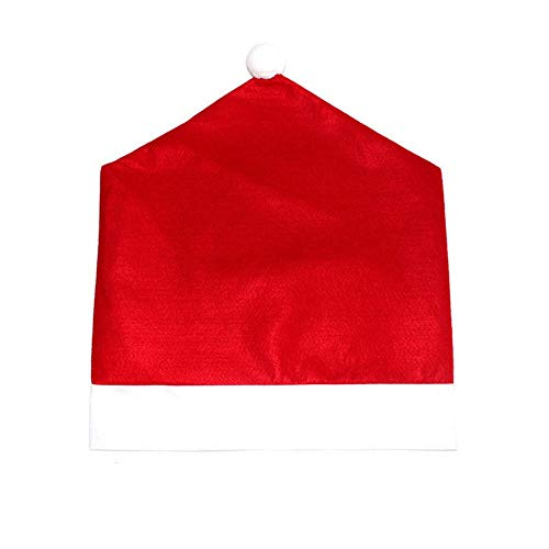 Wenquan,Santa Red Hat Stuhlhussen Frohe Weihnachten Dekor Dinner Chair Cap Set(Color:ROT)
