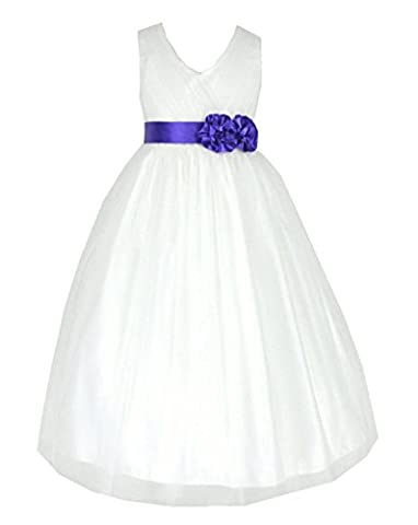 Tüll Brautjungfern Anlässe Festkleid Mädchen Creme & Lila Kleid Gr.116/122 (I202Pur-6#)