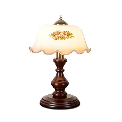 BJ Schreibtischlampen- American Retro Nostalgische Nachttischlampe Leselampe mit Glasschirm und Massivholzgestell (Farbe : B)