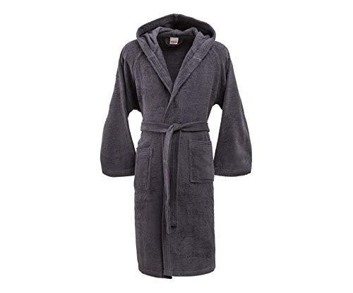 Bassetti accappatoio con cappuccio in cotone uomo donna disponibile in varie taglie e colori (grigio scuro, taglia xl, 175-185 cm)