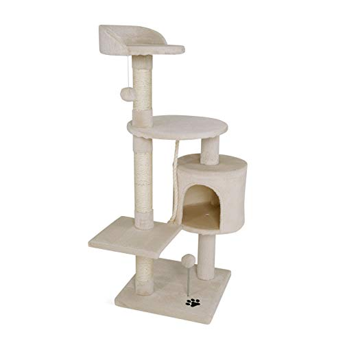 This high-quality scratching post is perfect for your darling to withdraw and to play, as well as for the care of its claws. The cave provides your cat with an excellent place to withdraw and relax. The numerous observation spots will give your cat a...