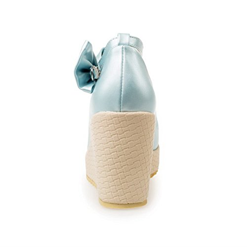 AllhqFashion Femme à Talon Haut Couleur Unie Matière Souple Boucle Rond Chaussures Légeres Bleu