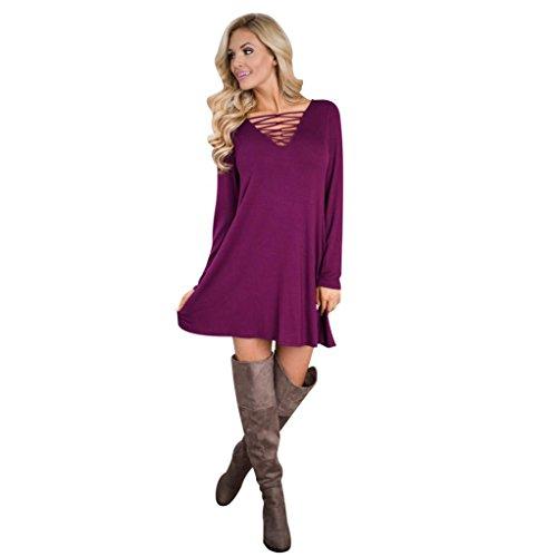 Reaso Femmes Couleur Unie Manche longue MIni Chemise Robe de Casual (Asie XL, Violet)