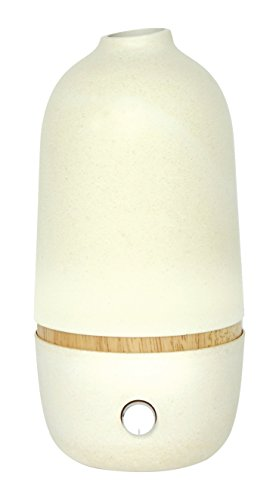 EKOBO Zerstäuber ätherische Öle, White Aroma-Diffuser, Bambus, 10x10x20.5 cm