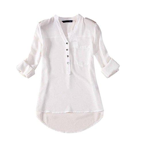 Hemd Damen Kolylong Frauen mit V-Ausschnitt Chiffon Solide Bluse (S, Weiß) (Tee Muscle Solides)