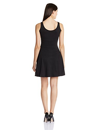 Miss Chase Women's Cotton Skater Dress (MCS14D01-28-62_Black_Medium)