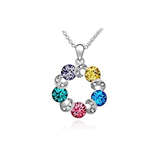 Austrian Crystal Happiness Ferris wheel multicolored crystal eternal promise clouds necklace (color)