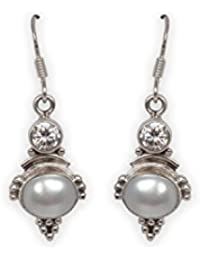 Silverwala 925-92.5 Sterling Silver, cubic zirconia, Pearl Stone, Fashion Dangle and Drop Earring for Women and Girls