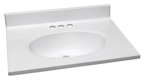 Single Vanity (Design House 551267 25-Inch by 19-Inch Marble Vanity Top/Single Bowl, Solid White by Design House)