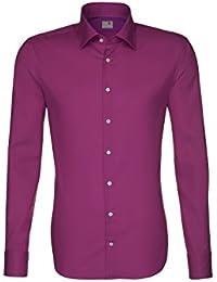 Seidensticker Herren Langarm Hemd Schwarze Rose Slim Fit lila / pink 229100.44
