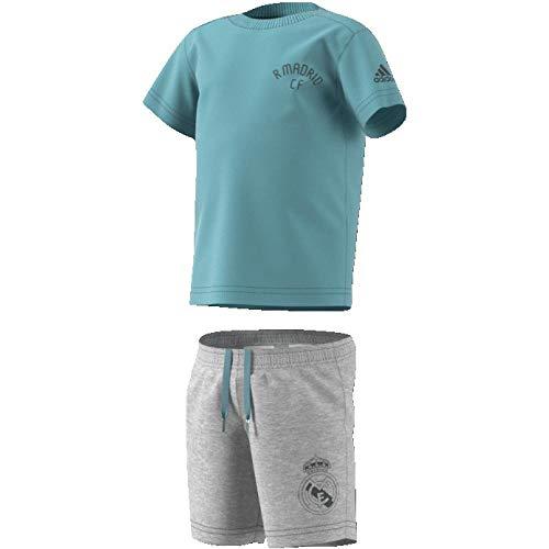 adidas, Baby Mini Me Real Madrid Set Trikot mit Short, Mehrfarbig (ashgre/grefiv), 80 (9/12 Monate)
