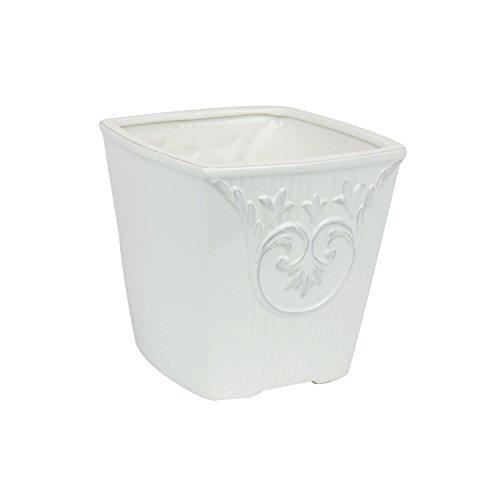 Keramiktopf 13,5 x 13,5 cm weiss Blumentopf Übertopf shabby Vintage Topf