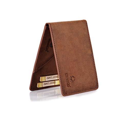 Donbolso Geldbörse Madrid mit Münzfach Leder Herren Mini Portemonnaie Flach mit RFID Brieftasche Männer Braun - Brieftasche Braun Herren Portemonnaies