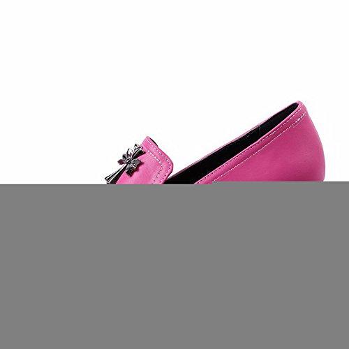 VogueZone009 Femme Tire Fermeture D'Orteil Rond à Talon Correct Chaussures Légeres Cramoisi