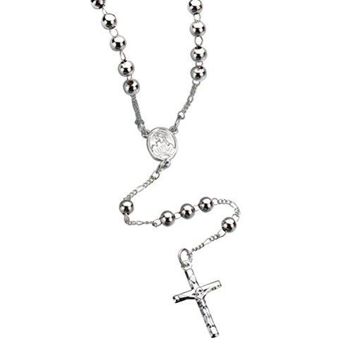 BESTOYARD Cross Necklace Catholic Jewelry Rosaries Metal Beaded Necklace with Crucifix Keepsake Prayer Beads Necklace for Men Women (Silver)