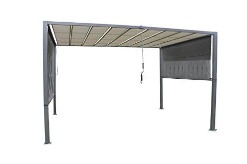 LECO hochwertiger Lamellenpergola in edlem anthrazit und lichtgrau, solide Stahlkonstruktion mit Dach aus Textil, 370 x 295 x 245 cm, inkl. Seitenrollos, Kurbel für Lamellen, modern, wetterfest
