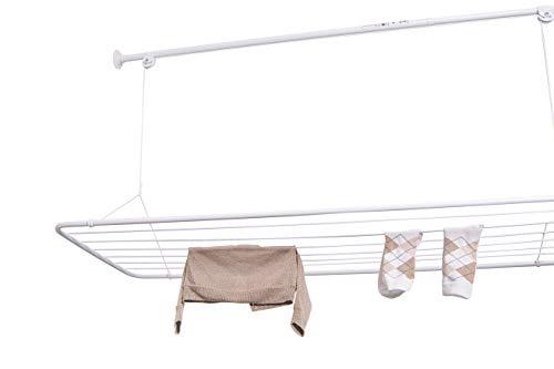 Deckentrockner ERIC 125x50cm, Wäscheständer fûr die Decke, Integrierten, ausziehbaren Stange (110-160 cm), Vertikal Zusammenklappbar, Metall mit PVC-Beschichtung, Weiß