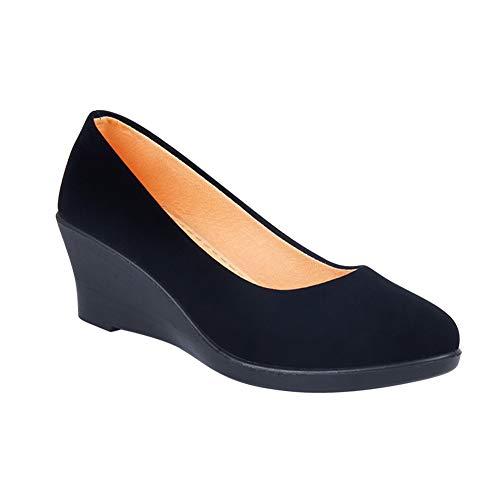 Yiliankeji Scarpe da Donna Nero Uniforme - Scarpe col Tacco Tacchi Alti Scarpe con Zeppa Casual retrò Elegante Accogliente Scarpe da Lavoro