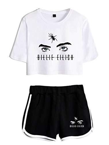 SIMYJOY Hip Hop Fans Damen T-Shirt Anzug Hiphop Musik Suit Casual Mädchen Kurzarm kurz Hosen Weiß&Schwarz XS