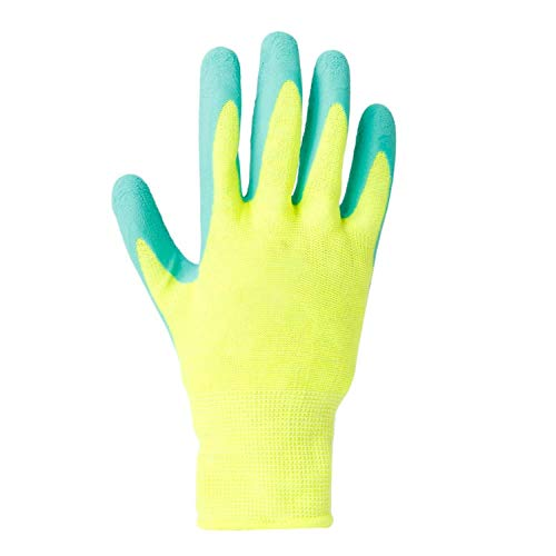 Man and woman safety work gloves (3 pairs) 13-pin fluorescent polyester nylon color latex foam garden gloves Garden gloves, leather gloves, protective gloves, -
