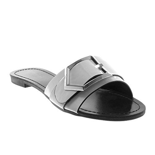 Chaussures Angkorly Fashion Sandales Mules Slip-on Femme Métallique Boucle Peinte Bloc Talon 1.5 Cm Blanc