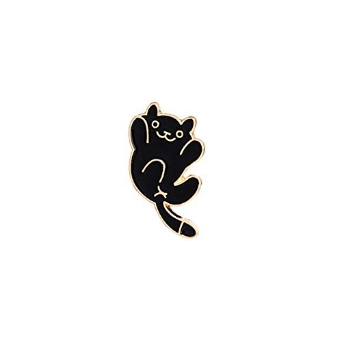 MSYOU - Broche de Dibujos Animados en Forma de Gato con broches, Accesorio para Ropa, Chaquetas, Abrigos, Sombreros, Gorros (Negro), Aleación, Negro, 1.7 x 3.0 cm