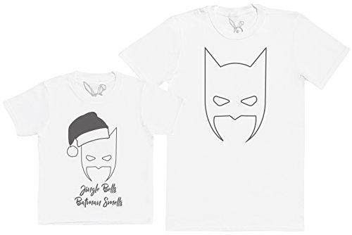 Jingle Bells Batman Smells - Passende Vater Kind Geschenk-Set - Vater T-Shirt und Kinder T-Shirt - Weiß - XXL & 5-6 Jahre (Mädchen Bell T-shirt)