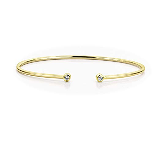 Orovi Damen Diamant Armband Gelbgold, Armreif mit Diamanten 9 Karat (375) Gold und Diamanten Brillanten 0.11 Ct, 6.5 cm lang