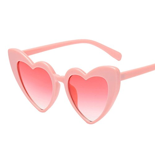 Huhu833 Mode Damen Retro Fashion Heart-shaped Shades Sonnenbrille Integrierte UV-Brille Reise Sonnenbrille (B)
