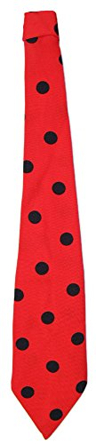 Das Kostümland Krawatte 50er Jahre mit Punkten Rot Schwarz - Tolles Accessoire zum Fifties Kostüm an Karneval oder Mottoparty (Schnelle 50er Jahre Kostüm)