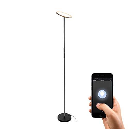 Stehlampe LED Deckenfluter Stehleuchte Dimmbar,TECKIN Wlan Smart Alexa Wifi Standleuchte Fernbedienbar, Kompatibel mit Alexa 3000K Warmes Weißes Licht für Schlafzimmer Wohnzimmer Büro(Schwarz)