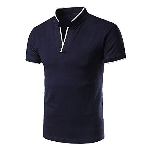 Xmiral Kurzarm-Poloshirt Herren Casual Stehkragen Einfarbig Jugend T-Shirt Baumwolle+Polyester V-Ausschnitt Oberteile(XL,Marine Blau) (Jugend Raben)