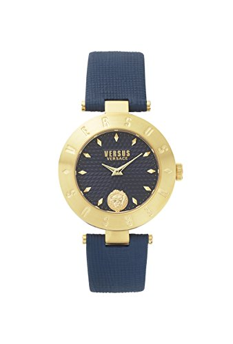 Versus by Versace Women's 'New Logo' Quartz Stainless Steel and Leather Casual Watch, Color:Blue (Model: S77050017)