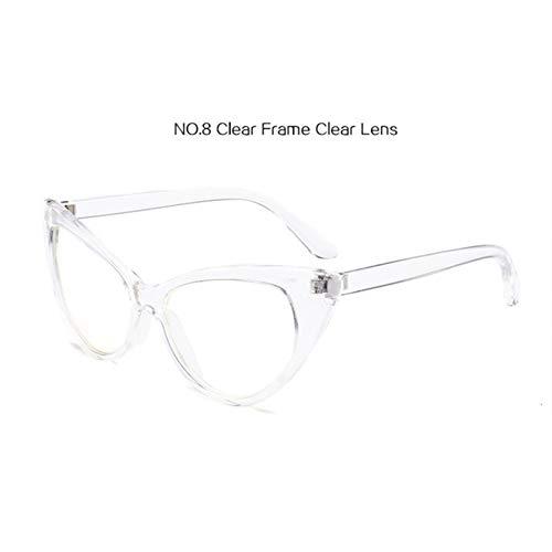 GJYANJING Sonnenbrille Cat Eye Sonnenbrillen FrauenVintage RoteSonnenbrilleTransparente Rahmen Cateye Brillen Uv400