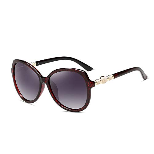 Thirteen Sonnenschutz Polarisierte Sonnenbrillen Weibliches Langes Gesicht Rundes Gesicht Fahrspiegel, Anti-UV-Blendschutz Für Dekorative Reisen. (Color : Pomegranate red)