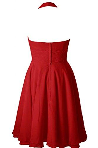 Sunvary Halter A linea Chiffon Homecoming abiti da damigella d'onore, lunghezza al ginocchio Red