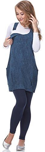 Be Mammy Damen Umstandstunika mit Stillfunktion Hosenträger mit Knöpfen ohne Ärmel Maternity Tunika zum Stillen BE20-155 Jeans