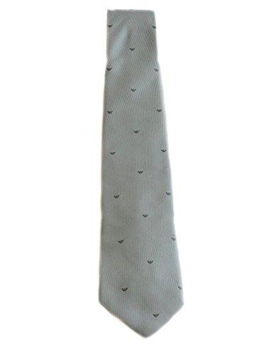Armani Collezioni Cravatta Top Elegance in seta di colore grigio chiaro logata all over