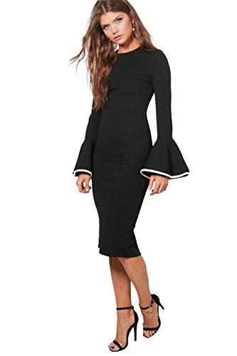 Damen Schwarz Tall Afia Bodyconkleid In Kontrastfarben Mit Ausgestellten Ärmeln Schwarz