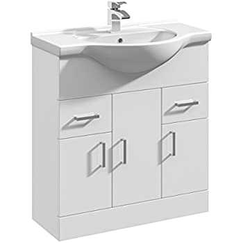 750mm Rigid High Gloss White Bathroom Vanity Unit Basin Sink Storage  Cabinet Furniture