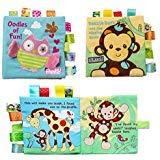 Hillento 2 Packungen ungiftig Weichen Stoff Baby Tuch Bücher frühe Bildung Spielzeug Aktivität Crinkle Tier Tuch Buch für Kleinkind, Säuglinge und Kinder, perfekt für Baby-Dusche, AFFE und Eule (Für Baby-bücher Baby-dusche)