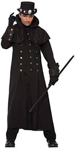 Sorcier Kostüm - Fancy Me Herren Lang Schwarz Steampunk Zauberer Sorcier Viktorianisch Mantel Jacke Halloween Kostüm Kleid Outfit