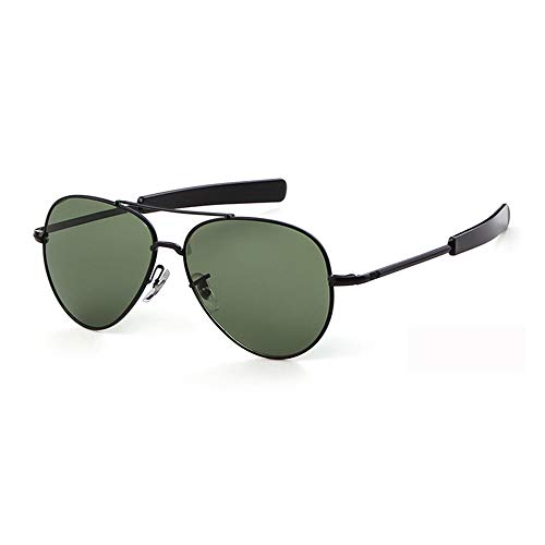 EnzoDate Gafas de sol aviador piloto militar de la fuerza aérea de los templos de bayoneta ejercito UV400 (verde negro)